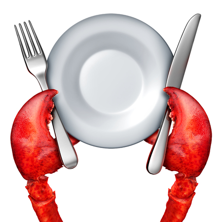crustacean: Lobster dinner concept as the red claws of the fresh ocean crustacean holding a fork and knife and blank dish as a gourmet serving symbol isolated on white with 3D illustration elements. Stock Photo