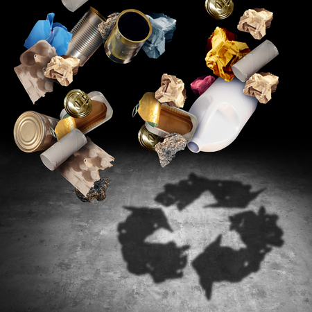 Recycle and recycling concept as a symbol of throwing garbage and reusable waste management as old paper glass metal and plastic household products casting a shadow of the icon and symbol of reusing for environmental conservation in a 3D illustration style. Stock Photo