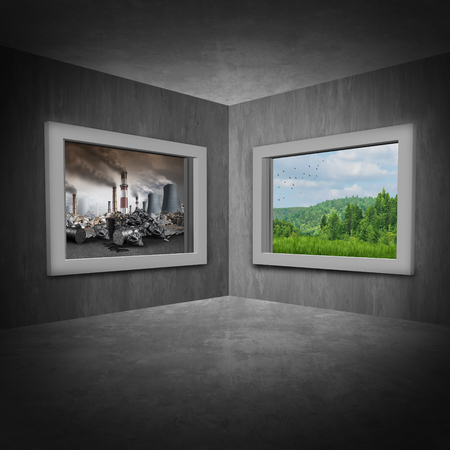 Environmental change concept as a room with two windows showing a polluted toxic environment contrasted by another window with green trees and clean air as a climate and ozone depletion symbol with 3D illustration elements.
