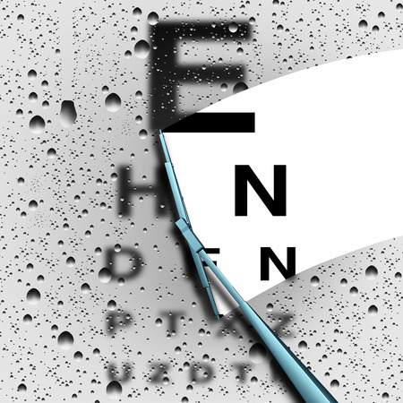 Clear vision out of focus eye test concept as a blurry eye chart with a wiper wiping away water drops for a sharper visual as a medical optometry or opthalmology symbol with 3D illustration elements.