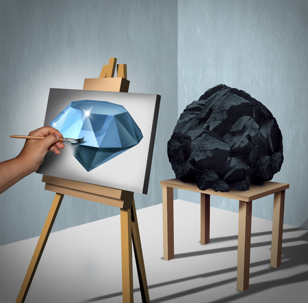 Seeing the possibilities or value opportunity and creating wealth financial concept as a painter looking at a rock or coal and inertpreting the object as a painted precious diamond on canvas with 3D illustration elements.