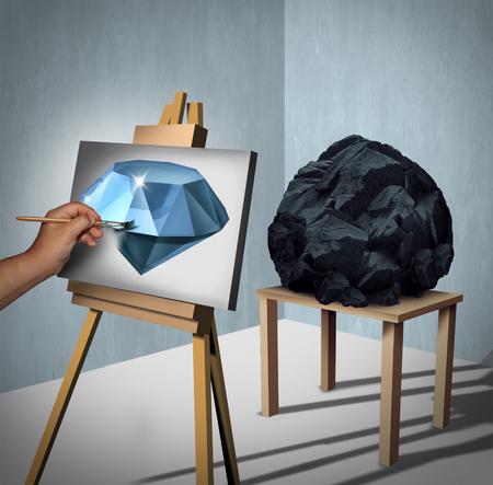 Sehen Sie die Möglichkeiten oder Wert Gelegenheit und die Schaffung von Wohlstand Finanz-Konzept als ein Maler an einem Felsen oder Kohle und inertpreting das Objekt als gemalt kostbaren Diamanten auf Leinwand mit 3D-Darstellung Elemente suchen. Standard-Bild