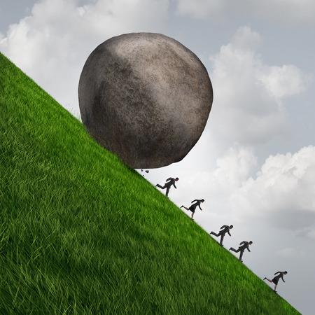Collectieve druk business concept als een enorme boulder rots naar beneden rolt een heuvel met het runnen van ondernemers en zakenlieden als een economisch risico en gevaar metafoor met 3D illistration elementen.