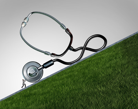 uphill: Doctor stress concept as an exhausted tired physician pushing a giant stethoscope uphill as a medical healthcare challenge symbol for health crisis and slow clinical response and frustration with 3D illustration elements.