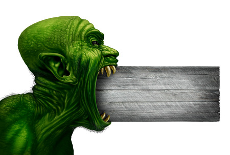 enraged: Zombie head blank sign and monster face side view as a demon or mutant beast biting into a wood signage as a creepy halloween or angry scary demonic symbol with wrinkled skin isolated on white in a realistic 3D illustration style.