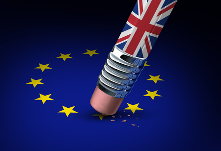 treaty: Britain European Union decision as a brexit leave concept and UK leaving vote or Euro zone crisis as a pencil with the british flag erasing a star of the Europe icon as a 3D illustration. Stock Photo