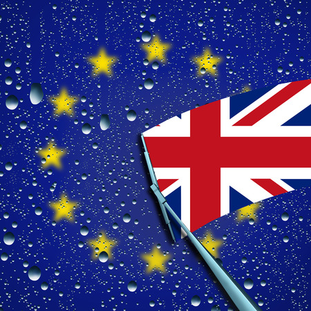 treaty: Britain leave or leaving European Union concept and decision as a brexit and UK independence vote or Euro zone crisis as a wiper washing away the Europe flag to expose the british flag as a 3D illustration.