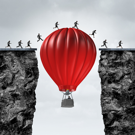 Opportunity manager and problem solver business concept as red air balloon creating a support link to help a team of businesspeople cross towards a corporate goal to success with 3D illustration elements. Stock Photo