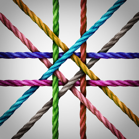 Connected centralized networking and central network connection business concept as a group of diverse ropes that connect to a centered point as a square shape network metaphor for connectivity and linking together as a strong support structure.