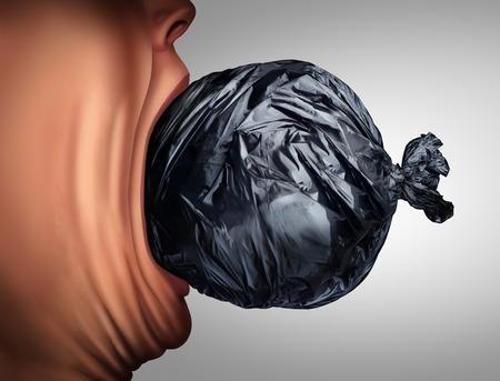 garbage bag: Eating garbage and unhealthy nutrition lifestyle as a person taking a bite out of a trash bag in a 3D illustration style as a health metaphor for disgusting menu habit or poverty hunger. Stock Photo
