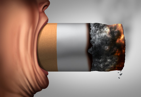 choking: Smoking habit addiction to nicotine and tobacco concept as a smoker with a huge cigarette in a wide open mouth as a concept for abusing an unhealthy toxic lifestyle with 3D illustration elements. Stock Photo