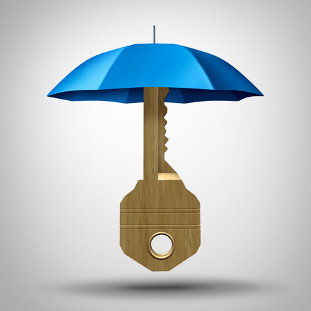 Key security concept with an umbrella protecting the symbol of solutions as an icon for defending against business strategy risk as a 3D illustration.