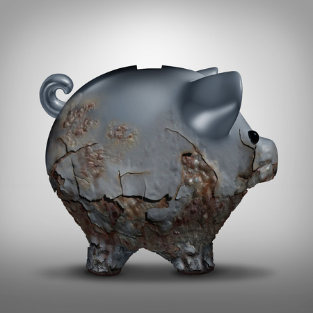 discarded: Savings decline and neglected investment as a finanancial business symbol as a metal piggy bank decaying with rust as a finance problem metaphor as a 3D illustration. Stock Photo