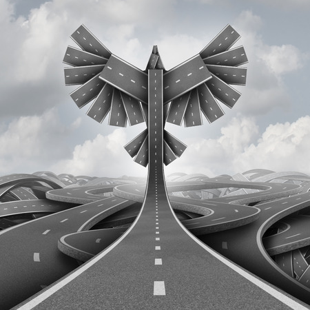 ascending: Road freedom concept as a group of highway paths grouped together shaped as flying bird wings as a business or life motivation success symbol of ascending upward breaking out of confusion towards opportunity as a 3D illustration.