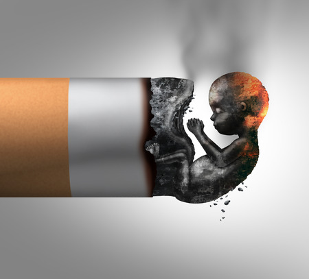 Pregnancy and smoking prenatal maternity health risk as a cigarette with the ashes shaped as a human fetus as a pregnant mother or parent dangerous smoke habit symbol with 3D illustration elements.