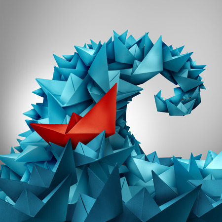 business trends: Caught in a wave as a business concept of following popular social trends or corporate insider as an ocean splash made of paper boats with a red boat trapped or integrated within the organised group in a 3D illustration style. Stock Photo