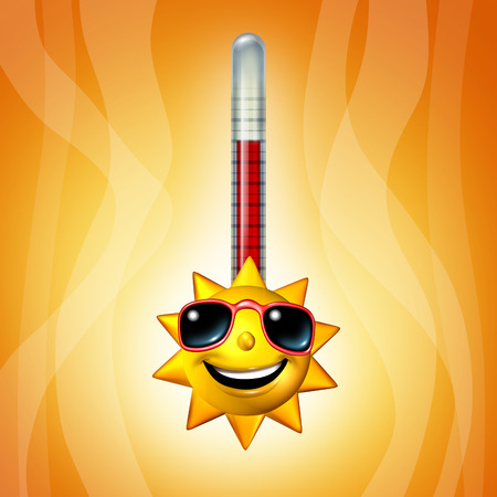 heatwave: Hot sun thermometer temperature as a heat wave concept as a yellow character representing record breaking extreme hot weather symbol during summer season as a 3D illustration.