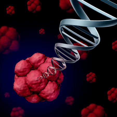 Stem adn cellulaire ou génétique StemCell concept comme une illustration en trois dimensions de cellules biologiques qui divisent par mitose trouvées chez l'homme avec un double brin d'hélice avec des chromosomes émergeant comme un symbole de la recherche en santé de la science médicale comme une illustration 3D. Banque d'images