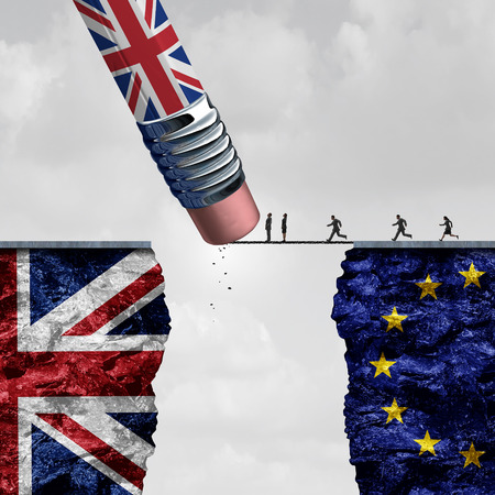 reform: Britain European Union change and independence decision as a brexit leave concept and UK leaving vote or Euro zone crisis as a pencil with the british flag erasing a link blocking entry as a 3D illustration.