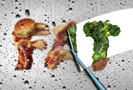 clean food: Lose fat nutrition concept as a wiper wiping away a group of fatty greasy junk food revealing healthy green vegetables and fruit as a detox and cleansing your diet symbol with 3D illustration elements. Stock Photo