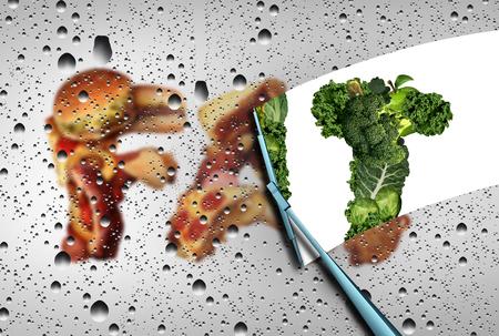 comida chatarra: Perder el concepto de nutrición grasa como un limpiador enjugando un grupo de comida chatarra grasos grasienta revelando las hortalizas y frutas como una desintoxicación y limpieza de su símbolo de la dieta con elementos de ilustración 3D.