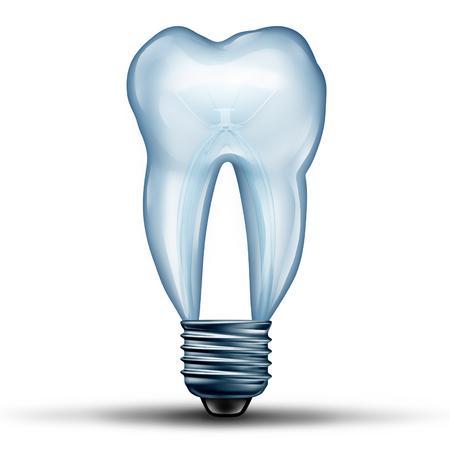 forme et sante: Tooth idée comme une ampoule ou ampoule en forme de dents molaires humaines icône forme comme une icône pour la santé dentaire et la médecine orale ou symbole stomatologie médecin comme une illustration 3D.