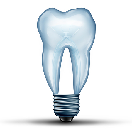 stomatology icon: Tooth idea as a lightbulb or light bulb shaped as human molar teeth icon shape as an icon for dental health and oral medicine or stomatology doctor symbol as a 3D illustration. Stock Photo