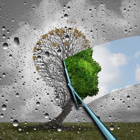 Reverse aging process and make young again medical concept or plastic surgery symbol as a wiper wiping away old decaying tree and revealing to a healthy green human head plant with leaves as a medical metaphor for renewal with 3D illustration elements.