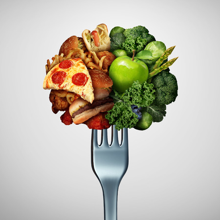 Food health options concept diet struggle and decision concept and nutrition choices dilemma between healthy good fresh fruit and vegetables or cholesterol rich fast food with one divided dinner fork with 3D illustration elements. Stockfoto