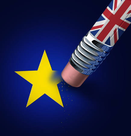 reform: Britain European union exit decision as a brexit leave concept and UK leaving vote or Euro zone crisis as a pencil with the british flag erasing a star of the Europe icon as a 3D illustration.