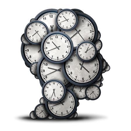 3 차원 그림으로 비즈니스 엄수와 약속 스트레스 은유 또는 마감 압력과 초과 근무 아이콘으로 인간의 머리 모양 시계 개체의 그룹으로 시간 개념을 생