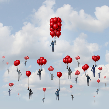 to gather: Business wealth concept as a group of people lifted by balloons with an individual businessman with more accumulated floating objects reaching higher with 3D illustration elements.