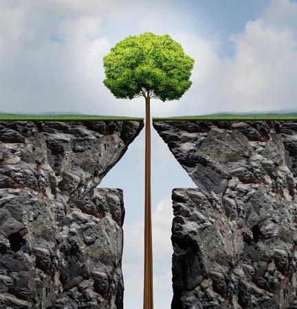 prosperidad: Concepto del éxito o el aumento de crecimiento de los árboles en los negocios como una planta que crece que surge de un acantilado en forma de montaña como una flecha hacia arriba como una metáfora de la prosperidad financiera y el rendimiento de inversión en un estilo Illusration 3D.