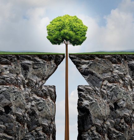 business opportunity: Success concept or rising growth tree in business as a growing plant emerging out of a mountain cliff shaped as an upward arrow as a financial prosperity and investment achievement metaphor in a 3D illusration style.