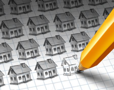 Bouw verhogen en groeiende woongemeenschap begrip als een schets met meerdere woningen en een potloodtekening meer huizen als een onroerend goed of de investeringen in woningen de economische activiteit met 3D illustratie elementen. Stockfoto