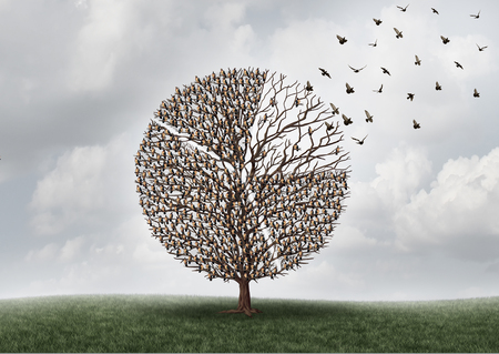 経済、ビジネス市場 shift キーまたは 3 D の図要素に離れて飛んで部分と円グラフの金融図として形の枝に腰掛け鳥と木とグローバル投資コンセプト 写真素材