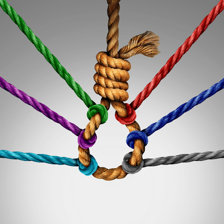 intervene: Suicide prevention support and group intervention symbol as a rope shaped in a suicidal noose with a group of diverse ropes preventing the danger by pulling the knot open as a mental health symbol for helping vulnerable patients. Stock Photo