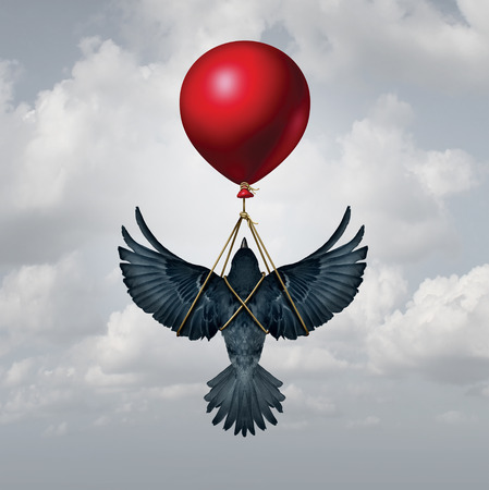 assisted: Assisted living concept as a bird with open wings being supported by a balloon as a funding and financial backing symbol with 3D illustration elements. Stock Photo