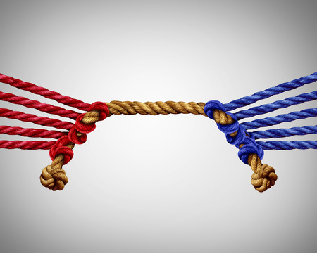 hostility: Tug of war business competition as a group of red versus blue ropes competing in opposite sides as a teamwork clash metaphor for team rivalry or corporate rivals.