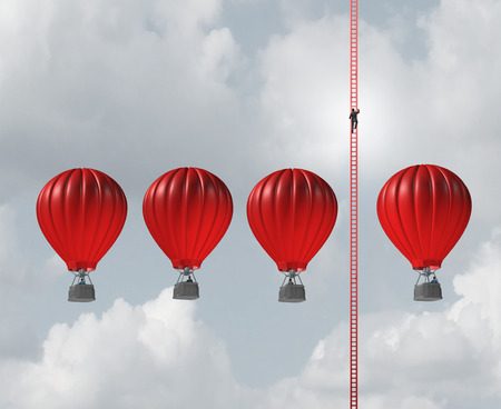 business metaphore: Alternate business route concept as a businessman climbing a long ladder above a group of air balloons as an innovative thinking metaphore with 3D illustration elements.