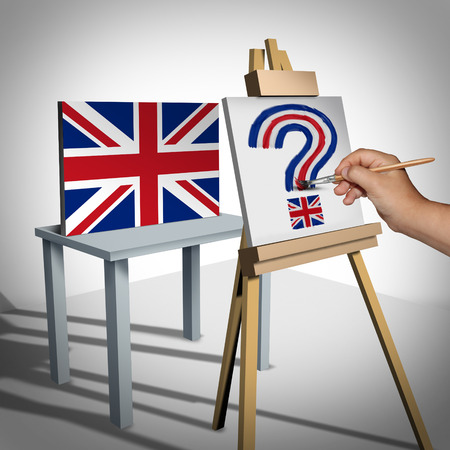 treaty: Britain or British uncertainty as a brexit concept representing the UK vote to leave or political confusion with the Euro zone and Europe membership decision as flag being painted as a question mark with 3D illustration elements. Stock Photo
