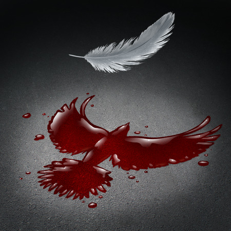 massacre: Security crisis concept as blood on a street shaped as a flying peace dove with a white feather falling down as a violence and war metaphor for society tragedy and global disaster with victims in a 3D illustration style.