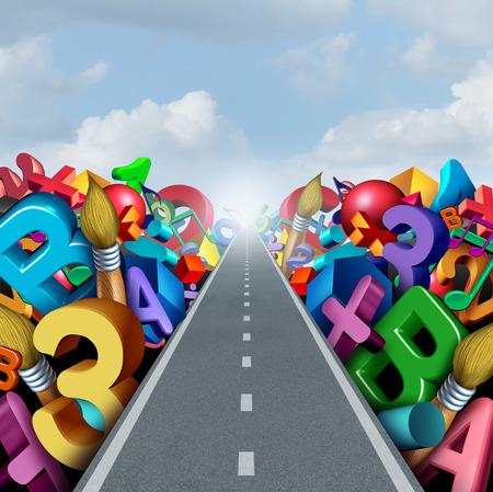 Education succès route comme l'alphabétisation et l'apprentissage des mathématiques pour la formation des étudiants ou d'un concept de tutorat comme numéros des lettres et des symboles d'activité de l'école sur le chemin de la réussite scolaire comme une illustration 3D. Banque d'images
