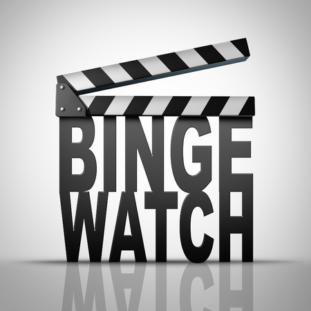 Binge horloge en het kijken naar kabel opeenvolgende afleveringen van een televisie of een tv-serie of meerdere film op uitzicht de vraag als een marathon bekijken van mediaconsumptie begrip als een 3D-afbeelding van een film duig vorm van tekst.
