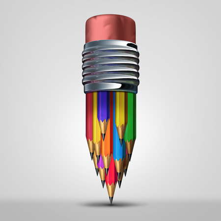 Team planning concept and teamwork diversity cooperation symbol as a group of diverse pencils organized together as an icon for corporate unity as a 3D illustration. Stock Photo