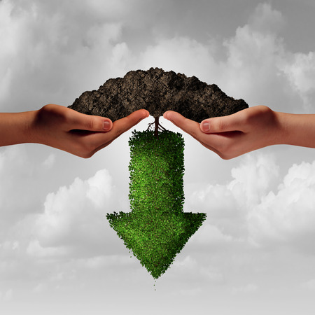 business team: Business team project failure as twi diverse human hands holding soil with an arrow tree growing downward as a financial or a failed partnership loss metaphor in a 3D illustration style.