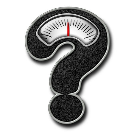 weight: Dieting advice symbol as a bathroom weight scale shaped as a question mark representing diet confusion and healthy body lifestyle information in a 3D illustration style on a white background.
