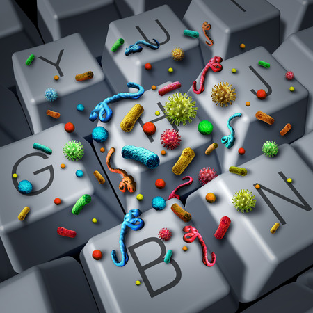 filthy: Dirty contaminated computer keyboard and bacteria or virus disease cells infecting a filthy desktop computer keys concept as a workplace health hazard or work hygiene and sanitation risk as a 3D illustration. Stock Photo