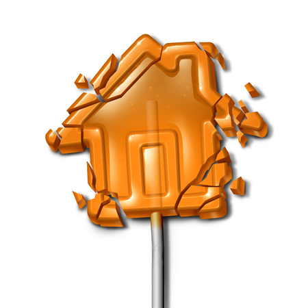 foreclosed: Broken Home concept as a shattered candy lollipop shaped as a troubled house as a family crisis symbol or financial foreclosure due to overdue mortgage loan and debt with 3D illustration elements. Stock Photo