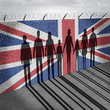 Bretaña refugiados inmigración crisis concepto como la gente en un muro de la frontera con una bandera británica como un problema social de los refugiados o inmigrantes ilegales del Reino Unido con la sombra de un grupo de inmigrantes con elementos de ilustración 3D. Foto de archivo - 59422667